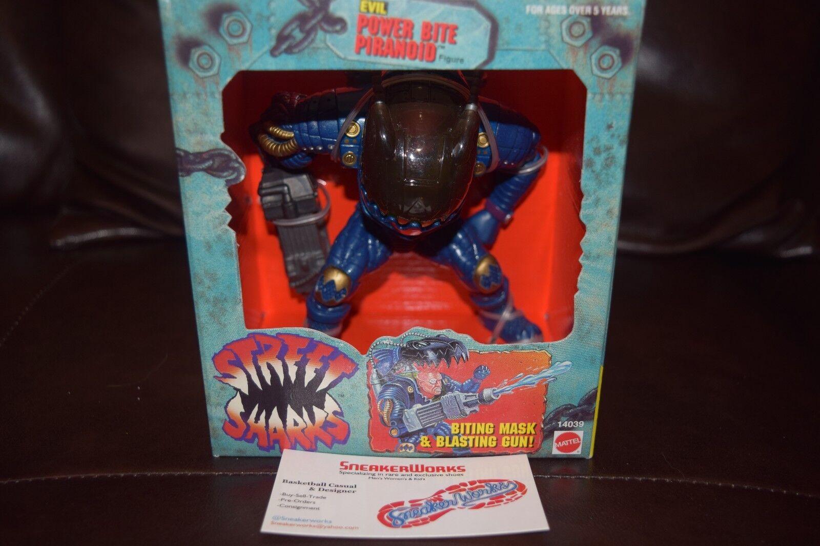 Nuovo Vintage Mattel Street Sharks Evil Power Bite Piranoid Action Figure 1995 MIB