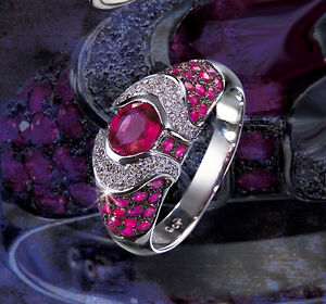 Anillo-De-Diamantes-Oro-Blanco-750-18-Quilates-Rubies-Brillantes-Manufactura