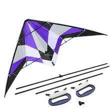 "71"" Delta Stunt Kite Dual Line Large Wing Span Prism Delta Outdoor Flying Purple"