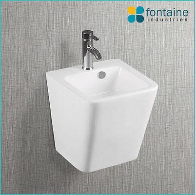 Wall Hung Mounted Basin Bathroom Powder White Ceramic Modern Compact Sink Round