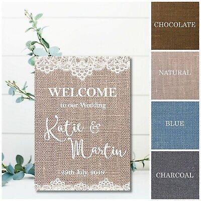 Burlap /& Lace Effect Welcome To Our Wedding Personalised Wedding Sign