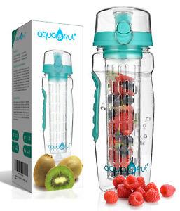AquaFrut-32oz-Fruit-Infuser-Infusion-Flavor-Water-Bottle-Teal-Pink-Blue-Black