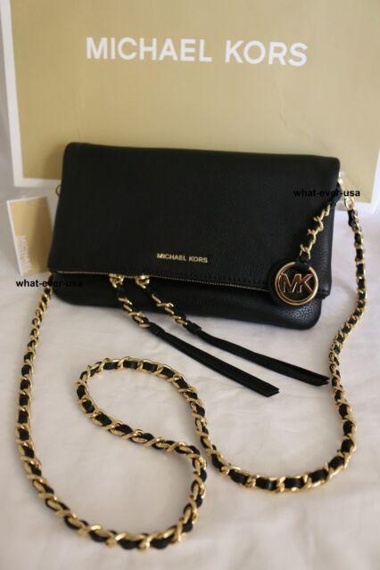 9ebf448f122d NWT MICHAEL KORS CORINNE Med. Messenger Crossbody Pebbled Leather bag BLACK