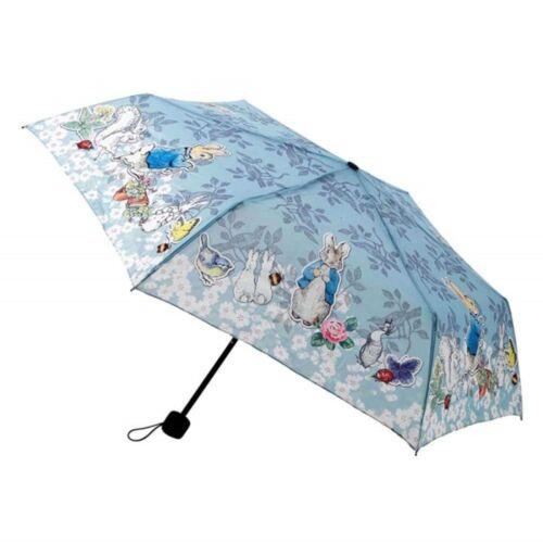 Beatrix Potter Peter Rabbit Pliant Parapluie 92 cm fleuri bleu avec pochette cadeau