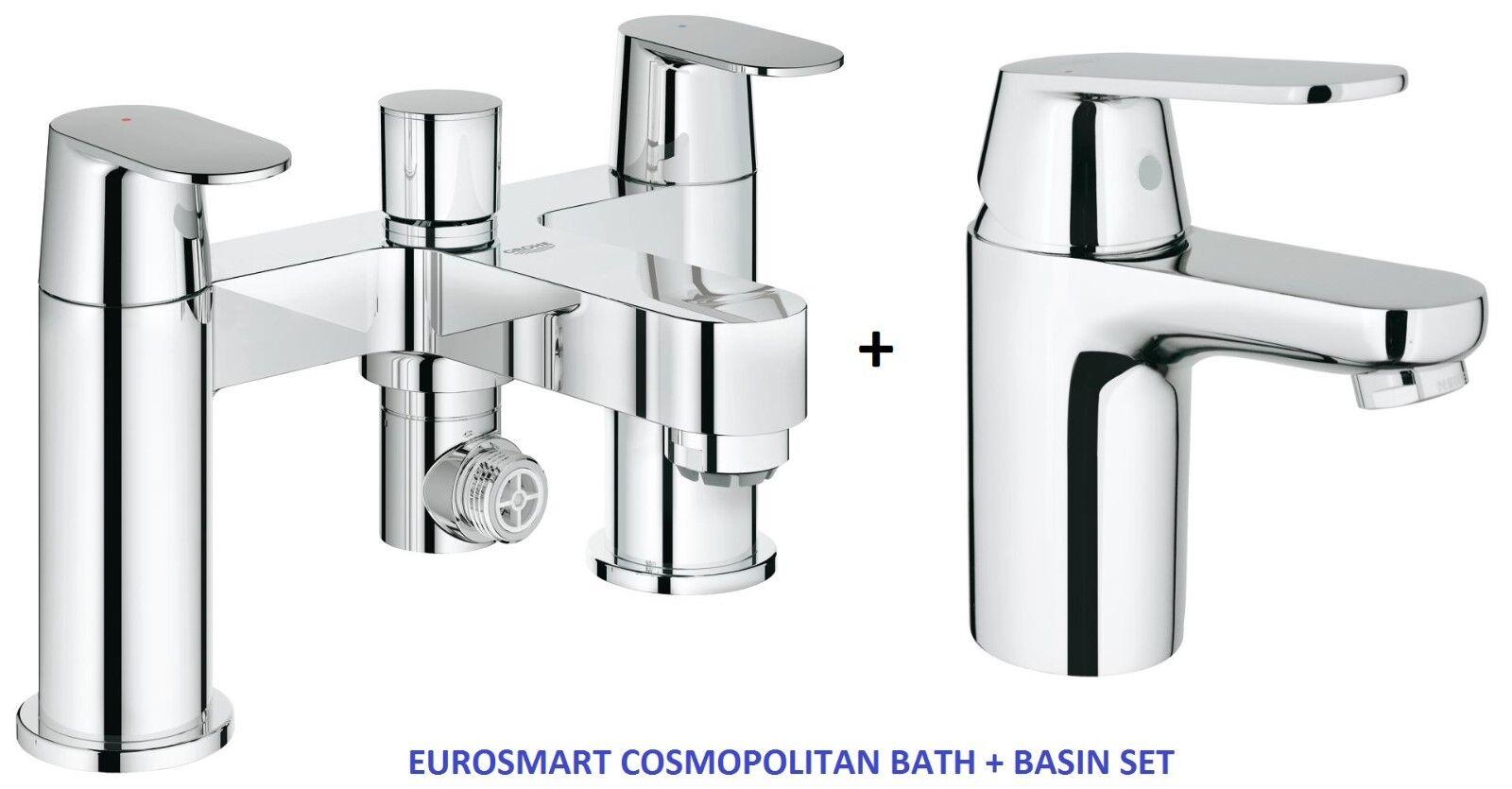 GROHE EUROSMART COSMOPOLITAN Miscelatore Doccia Bagno Rubinetto Miscelatore lavabo liscio 25129 + 3282400L