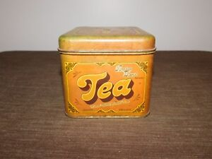 "VINTAGE 1978 4 1/2"" HIGH CHEINCO AMBER BLEND TEA  TIN CAN BOX  *EMPTY*"