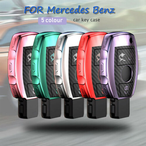 Details about  /Carbon Fibre+TPU Remote Car Key Case Cover For Mercedes Benz A B C E S-Class GLK