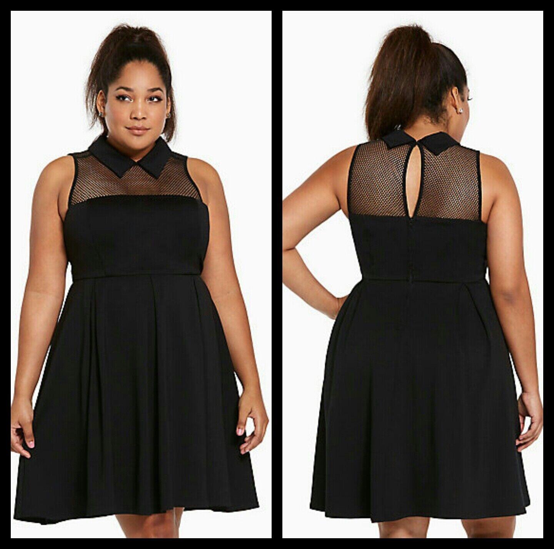 NWT Torrid Größe 00 10 Medium schwarz Mesh Collar Ponte Dress (36-25)