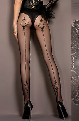 Ballerina 414 Luxury Fine Black /& Skin Lurex Faux Suspender Tights Pantyhose