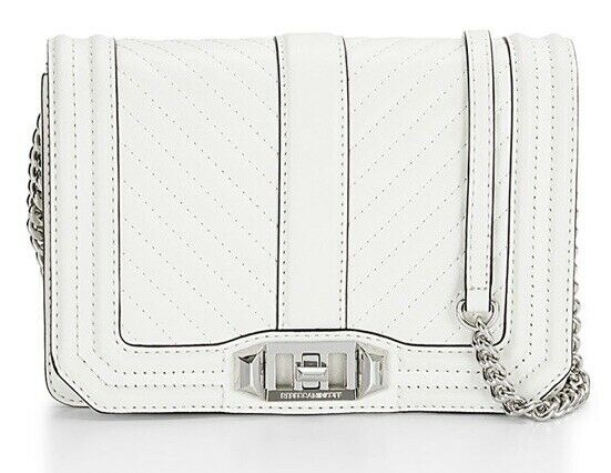 Rebecca Minkoff Small Love Chevron Quilted White Crossbody Bag 141217