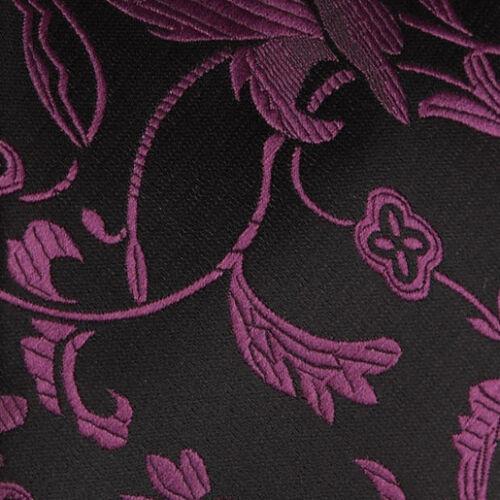 DQT Black Handkerchief Hanky Plain Plaid Pattern Floral Paisley Polka Dot Stripe