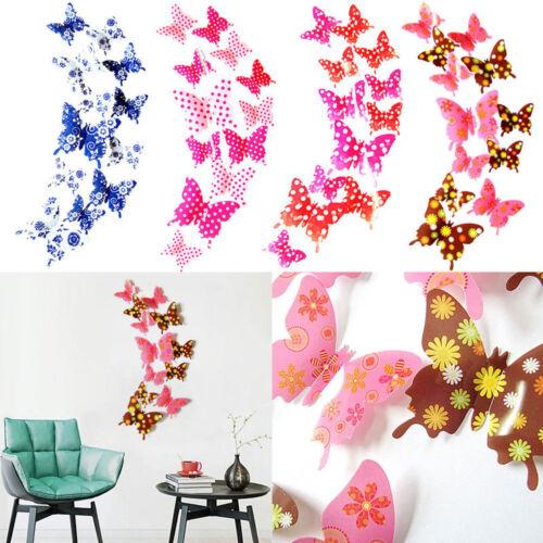 12pcs 3D PVC Butterflies Butterfly Art Decal Home Decor Wall Mural Stickers