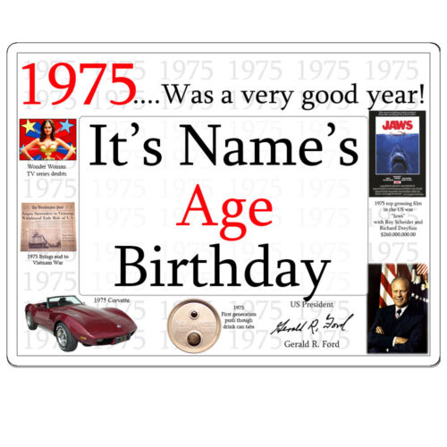 """Happy 45th Birthday FACTS FROM /""""1975/"""" PERSONALIZED DOOR POSTER BANNER Age 45"""