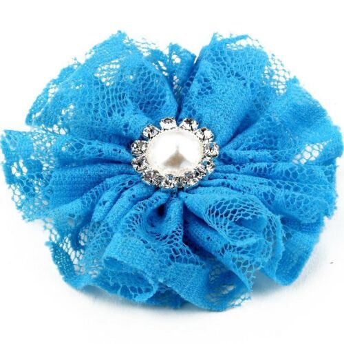 Mesh Lace Shabby Fabric Flower+Metal Pearl Button Baby Hair Accessories 20pcs