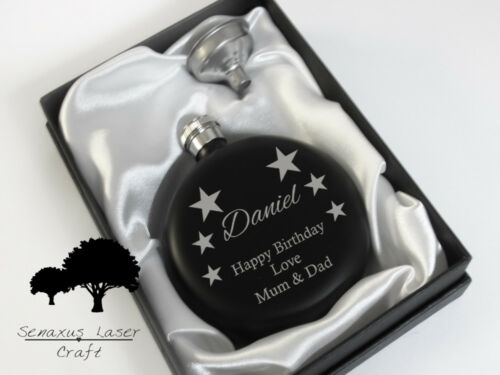 Xmas gift with colour choice RF3 5oz Personalised Hip Flask.Birthday