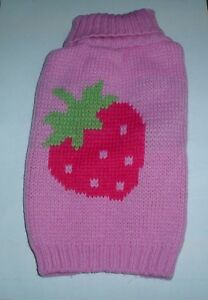 Very-Cute-Pink-Strawberry-Dog-Knitted-Sweater-Jumper-S