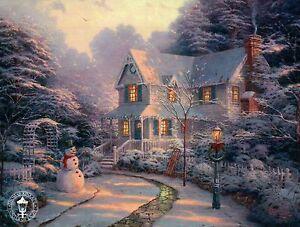 The Night Before Christmas - Snowman, Sled etc. - Thomas Kinkade Dealer Postcard