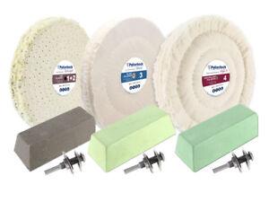 9-tlg. Alu-Polierset Ø150mm, Weiß, mit Schraube, für Bohrmaschine, mit Schraube
