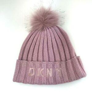 DKNY Girls Winter Hat Beanie Pom Pom Size OS (7-16) Spellout Logo Rose Pink