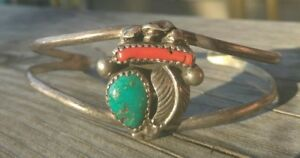 Native-American-Sterling-Silver-Turquoise-Red-Coral-Cuff-Old-Pawn