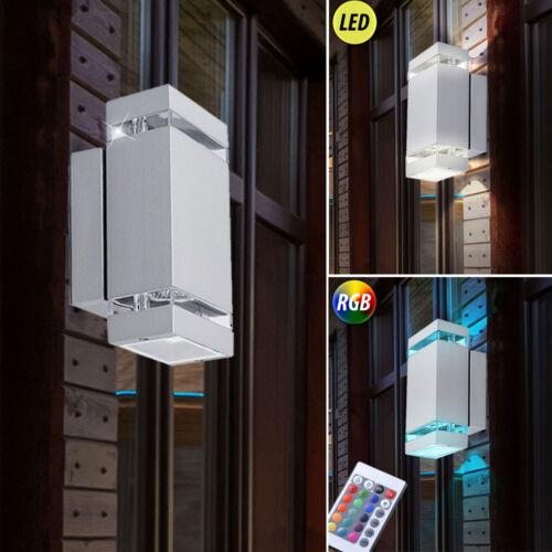 LED esterno parete Spot Up Down Lampada vetro in alluminio ip44 GIARDINO RGB telecomando Dimmerabile
