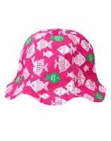 Gymboree Swim Shop Pink W/ Angel Fish Reversible Bucket Hat 2 3 4 5
