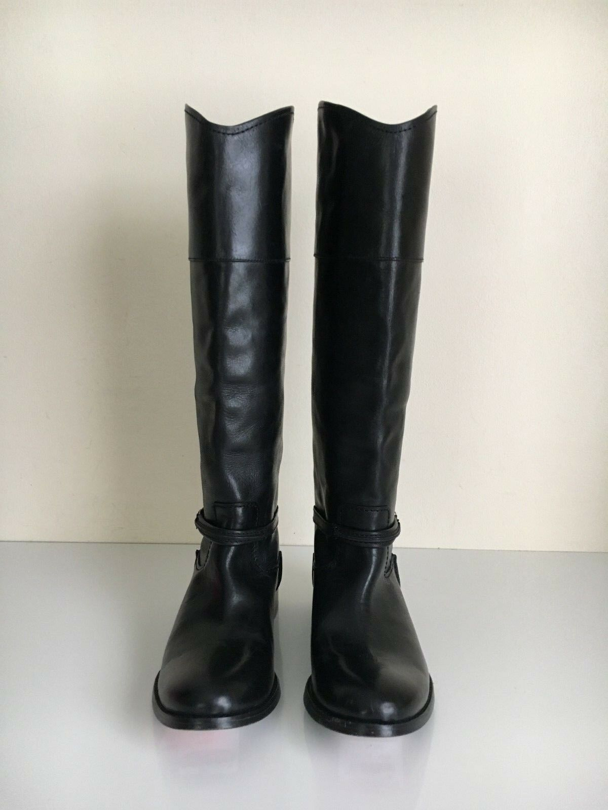 NEW Frye Sz 6 Strap Melissa Boots Black Riding Tall  458 Leather Pull Belted