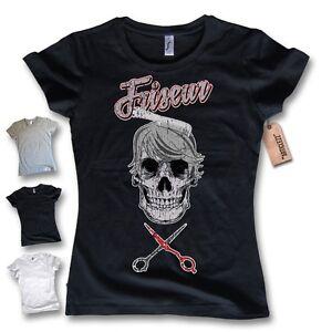 damen t shirt friseur skull totenkopf friseurin. Black Bedroom Furniture Sets. Home Design Ideas