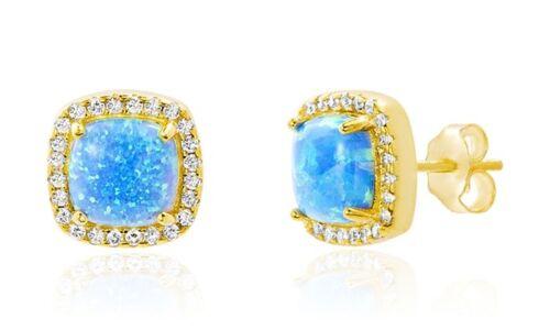Bleu azur fougueux Opal or jaune Boucles d/'oreille coupée Carré Clous