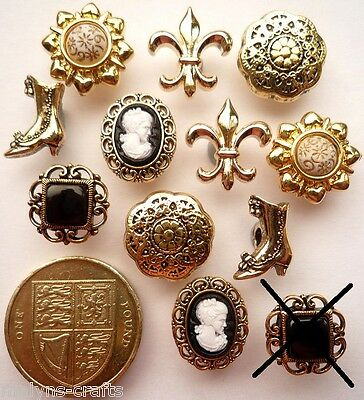 FAULTY - SMALL VICTORIAN Style Nostalgia Craft Buttons Vintage Antique Gold Tiny