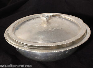 Continental-Silver-Vintage-Hammered-Aluminum-Covered-Server-W-Glass-Insert