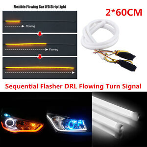 2x-60CM-White-Amber-Switchback-Car-DRL-LED-Strip-Sequential-Turn-Signal-Lights