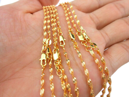 10PCS 16-30 in plaqué or double Water Wave Collier Fashion Jewelry Collier