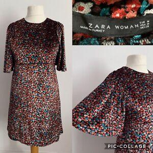 Zara-Woman-Floral-Velvet-Dress-Size-M-Party-Evening-Bell-Sleeve