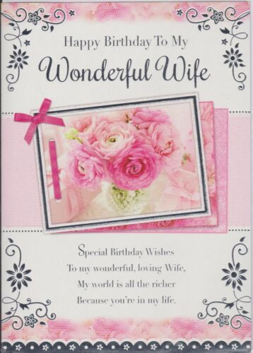 Wife Birthday Card ~ To My Wonderful Wife ~ For My Wife ~ Choice Of Card