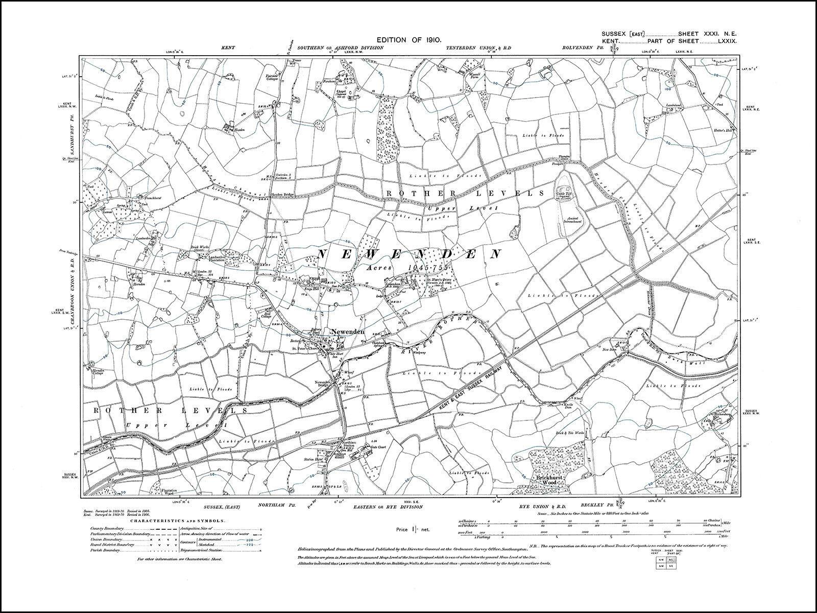 Northiam North Old Map Sussex 1910 31ne Repro Ebay
