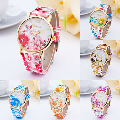 HOT Classic Geneva Womens Watches Flower Leather Analog Quartz Vogue WristWatch