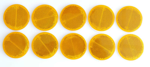 10 x Rückstrahler gelb 55mm Klebe Reflektor Katzenauge PKW Anhänger Motorrad