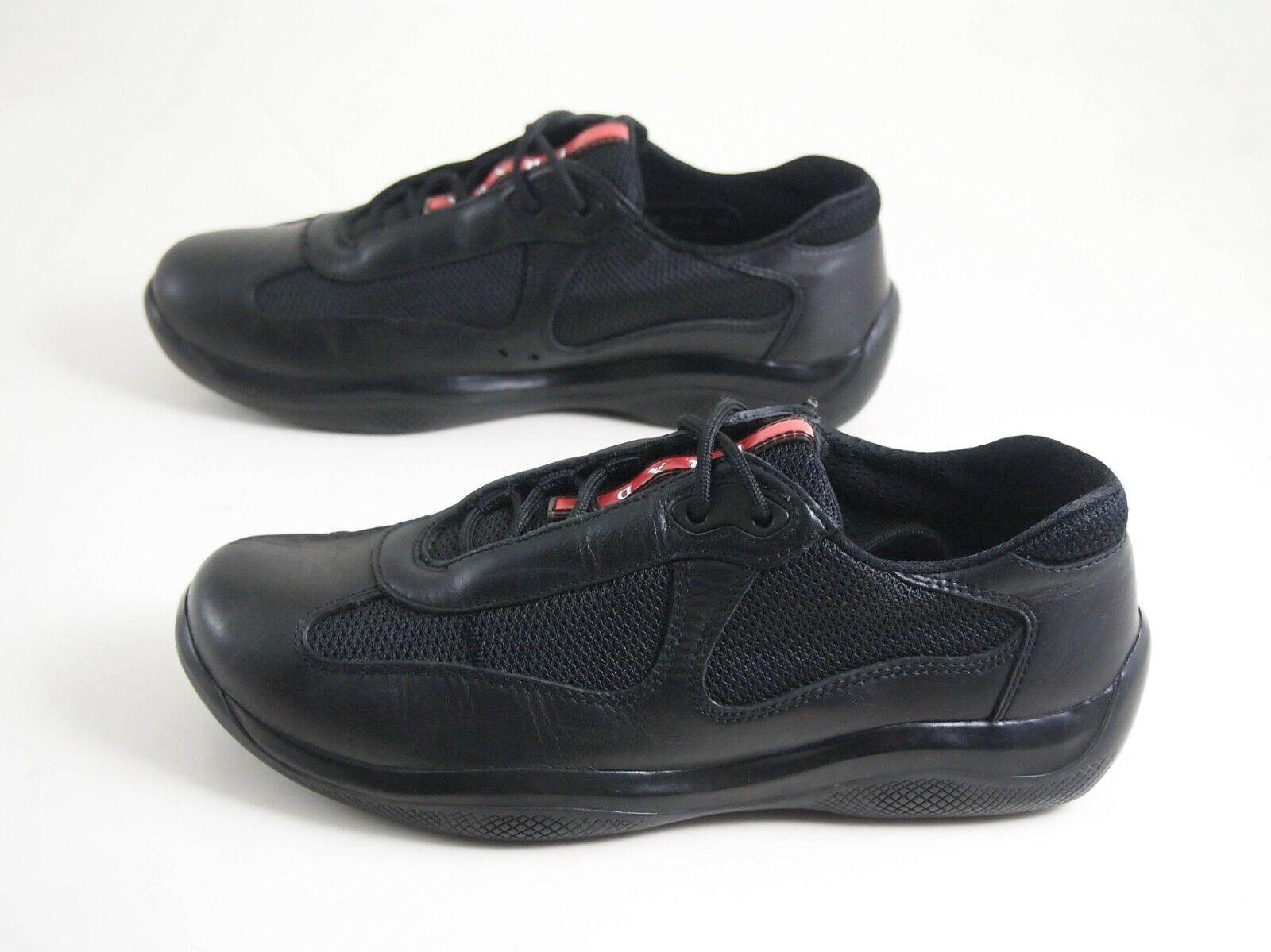 PRADA Americas Cup Sneakers Low Top Cuir Noir Femmes Chaussure Sz UE 38 US 8