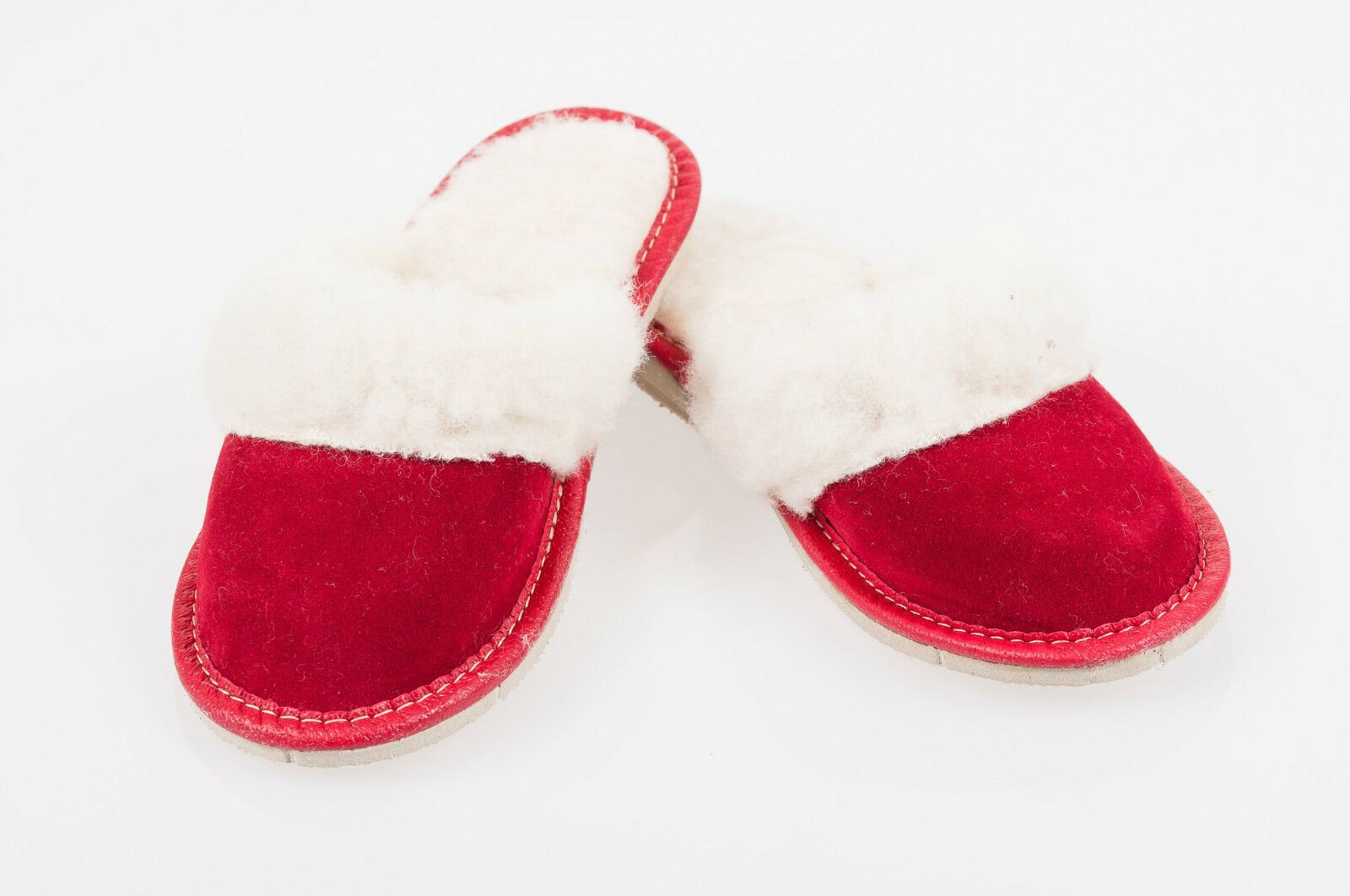 Women`s/Ladies Warm Slippers Suede Leather&amp;Sheepw<wbr/>ool size:UK3,4,5,6<wbr/>,7,8 Red