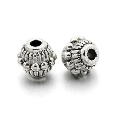 Paquet 50 Argent Antique Tibétain 5 x 6mm Intercalaires Baril Perles HA17680