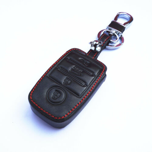 Black Leather Smart Remote 4 Buttons Key Chain Holder Cover Fob For Kia K5 K3