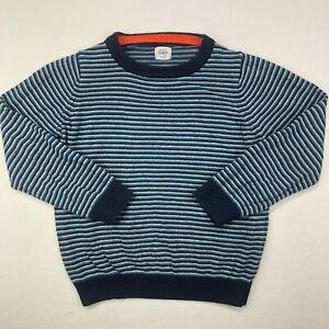 MINI BODEN Boys Crew Neck Cotton Cashmere Sweater Striped Blue Size 7-8