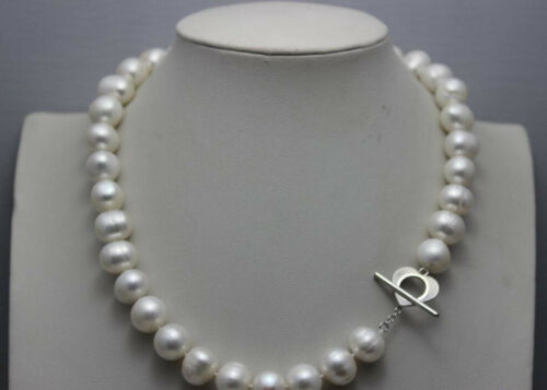 Natural 10-11mm nearly round white Freshwater pearl necklace 18 Inch heart clasp