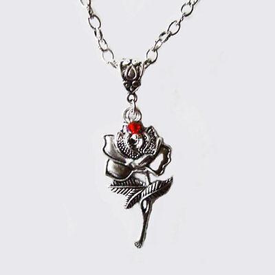 Pendentif  en forme de rose toupie rouge sang en cristal