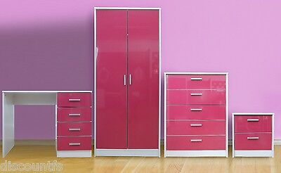 HIGH GLOSS KHABAT PINK/WHITE 4 PIECE BEDROOM FURNITURE SET WITH DRESSING TABLE