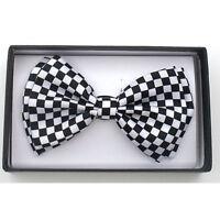 Tuxedo Pretied White Black Checkered Bow Tie Satin Adjustable Bowtie