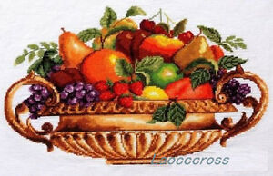 New-Completed-finished-Cross-stitch-Fruits-plate-034-home-decor-gift