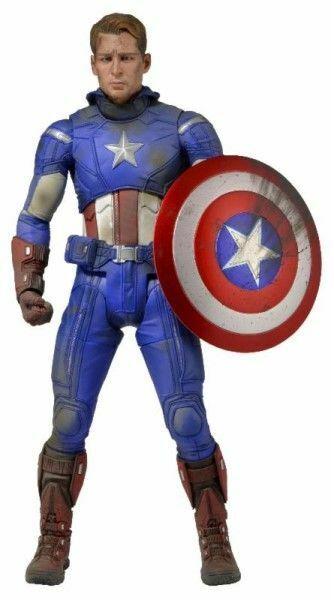 Neca Marvel Vengadores Capitán América Battle Damaged escala 1 4 Figura De Acción Nueva