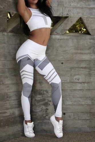 Damen Yoga Fitness Leggings Jogging Stretch Sport High Waist Hose Trainingshose